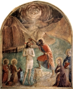 """Baptism of Christ"", Fra Angelico, 1450, San Marco Church, Florence, Italy."