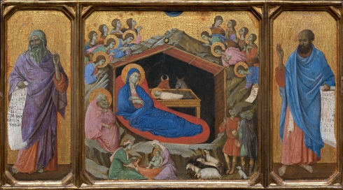 """Nativity with the Prophets Isaiah and Ezekiel"", Duccio, di Buoninsegna, -1319?, National Gallery of Art, Washington, D.C."