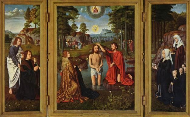 """Gerard David, """"Baptism of Christ"""", 1502 - 1508, Musee Communal, Bruge, Belgium."""