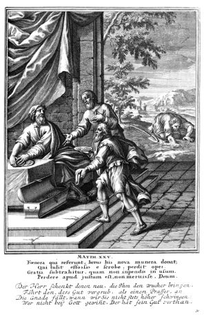 The parable of the talents, as depicted in a 1712 woodcut. The lazy servant searches for his buried talent, while the two other servants present their earnings to their master.